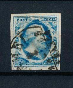 Nederland 1852 Koning Willem III - 5 ct blauw plaat I NVPH 1b