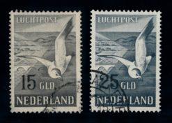 Nederland 1951 luchtpost Zeemeeuw NVPH LP12-LP13 gestempeld