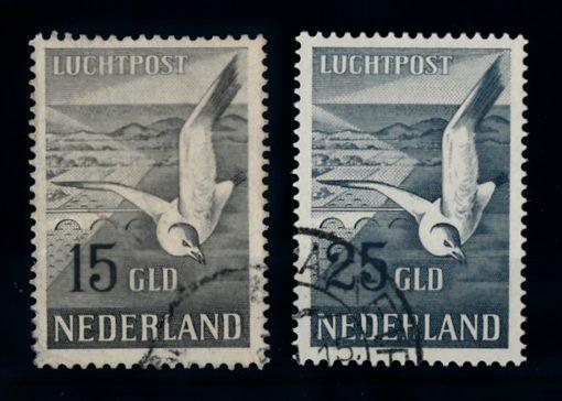 Nederland 1951 luchtpost Zeemeeuw NVPH LP12-LP13 gestempeld 1
