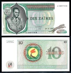 Zaire 1979 10 Zaires bankbiljet UNC Pick 24a