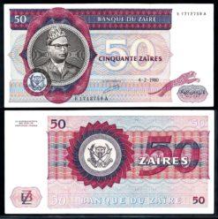 Zaire 1980 50 Zaires bankbiljet Pracht ex. Pick 25a