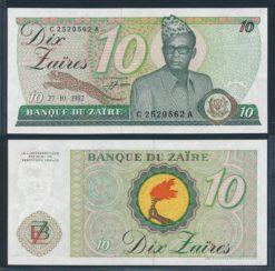 Zaire 1982 10 Zaires bankbiljet UNC Pick 27
