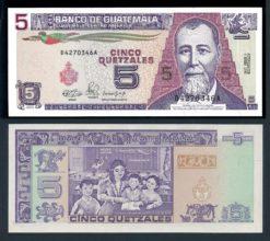 Guatemala 1990 5 Quetzales bankbiljet UNC Pick 74a