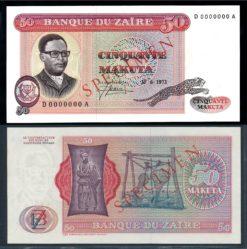 Zaire 1973 50 Makuta Specimen bankbiljet UNC Pick 16s
