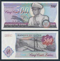 Zaire 1985 500 Zaires bankbiljet UNC Pick 30b