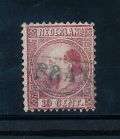 Nederland 1867-1868 Koning Willem III - 10 cent rood NVPH 8 I A gestempeld