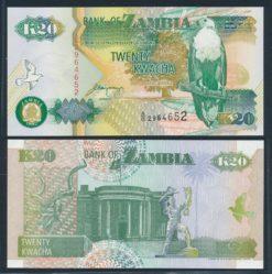 Zambia 1992 20 Kwacha bankbiljet UNC Pick 36b