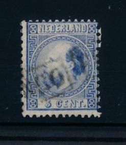 Nederland 1867-1868 Koning Willem III - 5 cent blauw NVPH 7 I A gestempeld