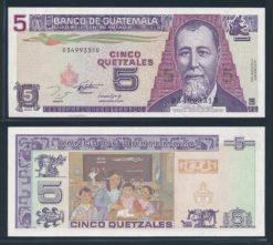 Guatemala 1993 5 Quetzales bankbiljet UNC Pick 88a