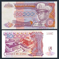 Zaire 1989 10.000 Zaires bankbiljet UNC Pick 35