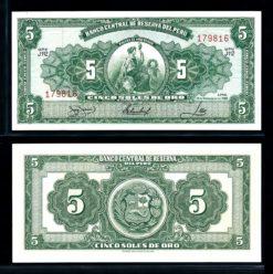 Peru 1966 5 Soles bankbiljet UNC Pick 83a