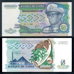 Zaire 1988 5000 Zaires bankbiljet UNC Pick 37b