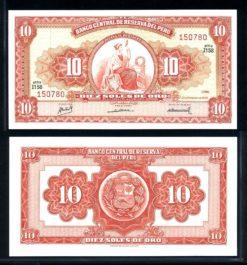 Peru 1968 10 Soles bankbiljet UNC Pick 84a