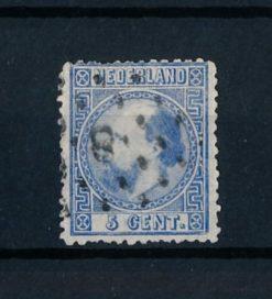 Nederland 1867-1868 Koning Willem III - 5 cent blauw NVPH 7 I E gestempeld