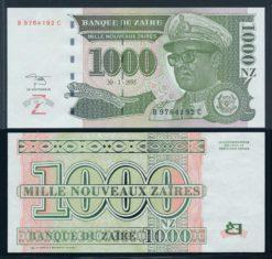 Zaire 1995 1000 Nouveau Zaire Bank Note UNC Pick 66