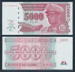Zaire 1995 5000 Nouveau Zaire Bank Note UNC Pick 69