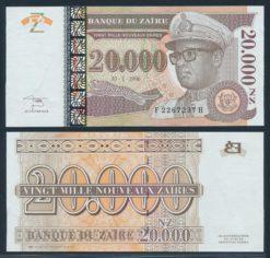 Zaire 1996 20.000 Nouveau Zaire Bank Note UNC Pick 72