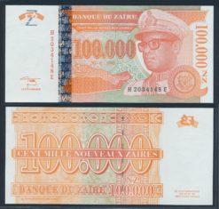 Zaire 1996 100.000 Nouveau Zaire Bank Note UNC Pick 77