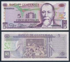 Guatemala 1983 5 Quetzales bankbiljet UNC Pick 60c