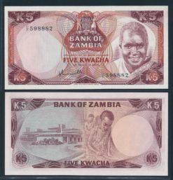Zambia ND 1976 5 Kwacha bankbiljet UNC Pick 21