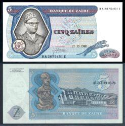 Zaire 1980 5 Zaires bankbiljet UNC Pick 22b