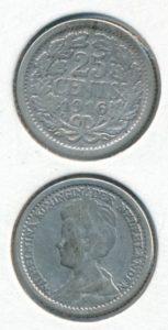 Nederland 25 Cent Wilhelmina 1916
