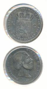 Nederland Zilveren Halve Gulden Willem III 1859 Overslag