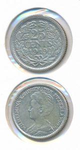 Nederland 25 Cent Wilhelmina 1919
