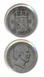 Nederland Zilveren Halve Gulden Willem III 1860 Overslag