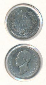Nederland 25 Cent Willem II 1848