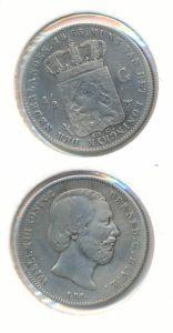 Nederland Zilveren Halve Gulden Willem III 1863