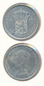 Nederland Zilveren Gulden Wilhelmina 1912