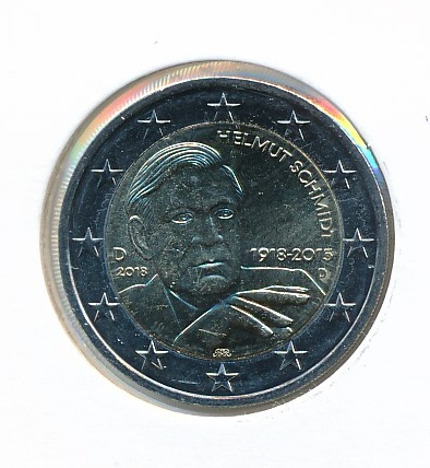 Duitsland 2018 D 2 Euro 100e Verjaardag Helmut Schmidt 1