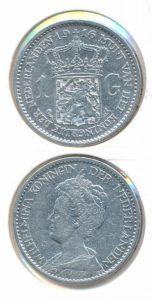 Nederland Zilveren Gulden Wilhelmina 1916