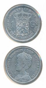 Nederland Zilveren Gulden Wilhelmina 1917