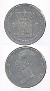 Nederland Zilveren Rijksdaalder Willem II 1845 met streepje