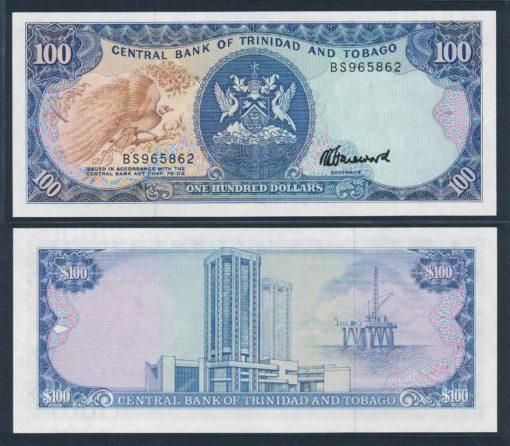 Trinidad en Tobago 1985 100 Dollars bankbiljet UNC Pick 40c 1