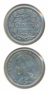 Nederland 25 Cent Wilhelmina 1912