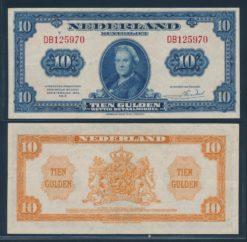 Nederland 1943 10 Gulden Wilhelmina American Bank Note Company Muntbiljet