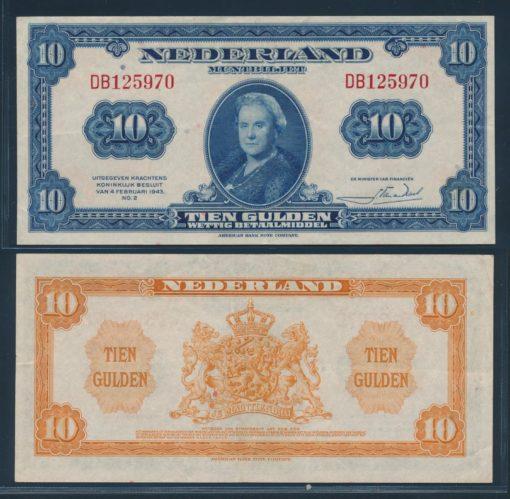 Nederland 1943 10 Gulden Wilhelmina American Bank Note Company Muntbiljet  1