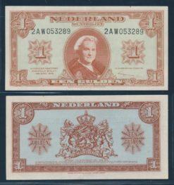 Nederland 1945 1 Gulden Wilhelmina Muntbiljet TDLR