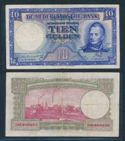 Nederland 1945 10 Gulden Willem 1 Staatsmijnen foutief jaartal 1788-1843 Bankbiljet