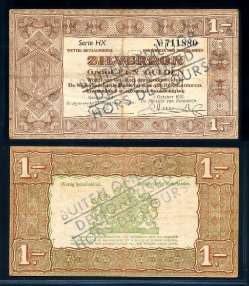 Nederland 1938 1 Gulden Zilverbon Opdruk buiten omloop  1