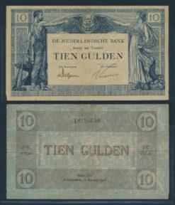 Nederland 1921 10 Gulden Arbeid & Welvaart II Bankbiljet