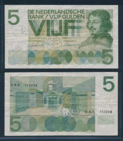 Nederland 1966 5 Gulden Bankbiljet Vondel serie 6 AA