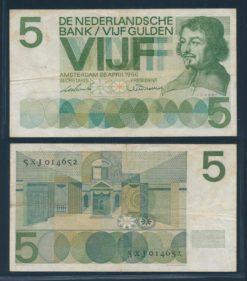 Nederland 1966 5 Gulden Bankbiljet Vondel serie XJ
