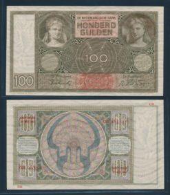 Nederland 1930 100 Gulden Luitspelende vrouw Bankbiljet
