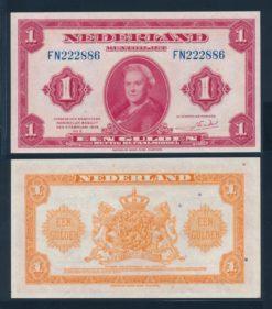 Nederland 1943 1 Gulden Wilhelmina Muntbiljet American Bank Note Company