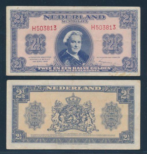 Nederland 1945 2 Gulden Wilhelmina Muntbiljet TDLR  1
