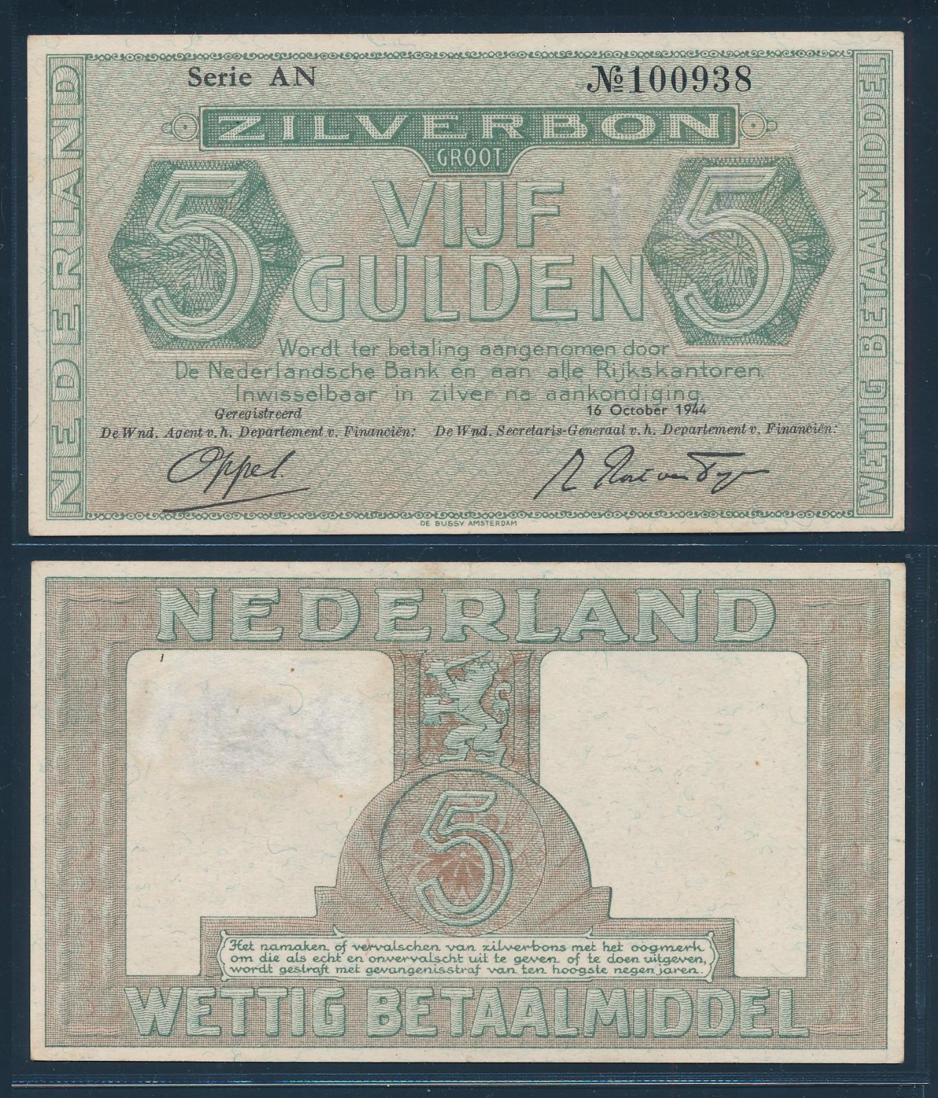 Nederland 1944 5 Gulden Zilverbon
